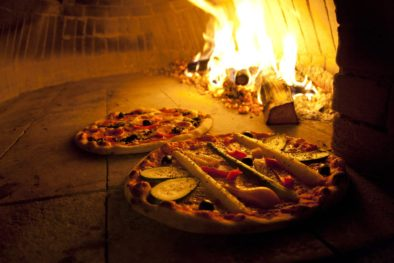 pizza from a fire oven