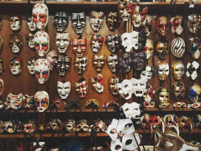 Collection of venetian masks you can consider for a souvenir of your venice vacation.