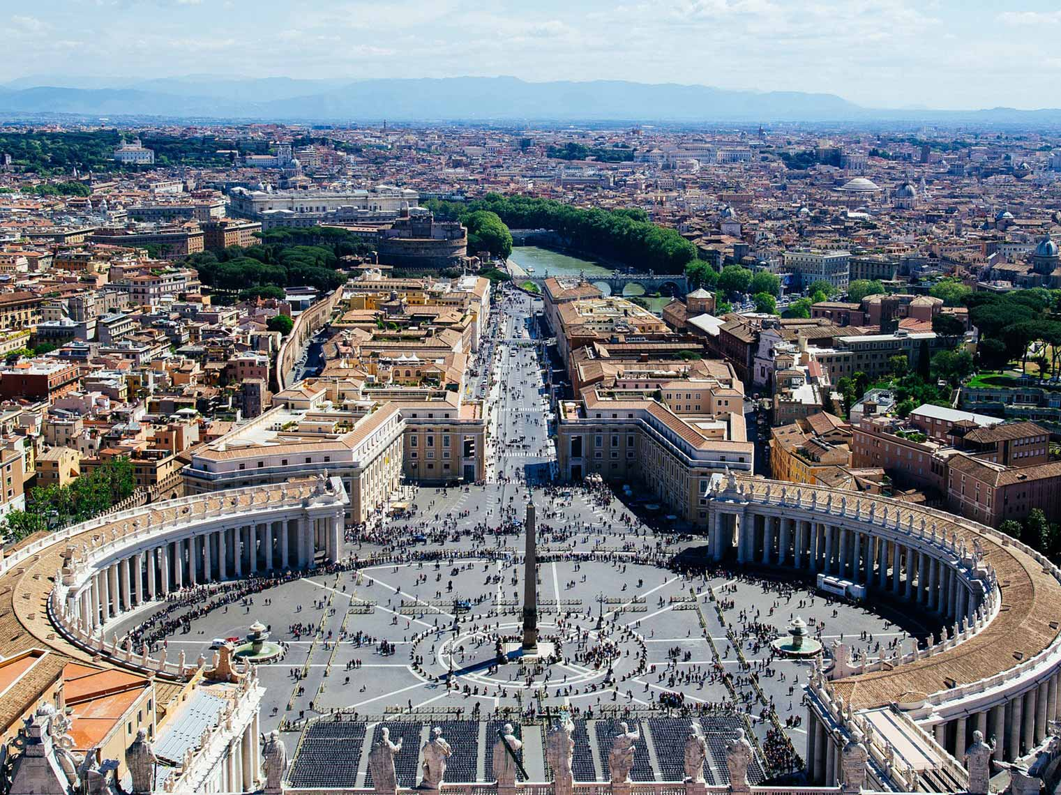 St Peters square on a tour of the Vatican.