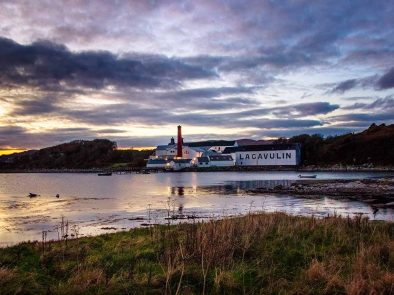 whisky distillery on the shore of the isle of islay.