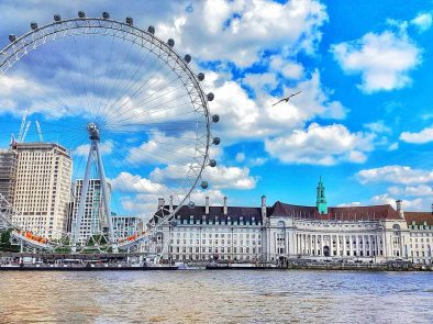 The London Eye as viewed from the Thames river
