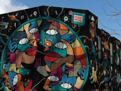 Graffiti mural on the wall. London Street art.