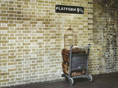 platform 9 and three quarters at KIngs cross station in London.